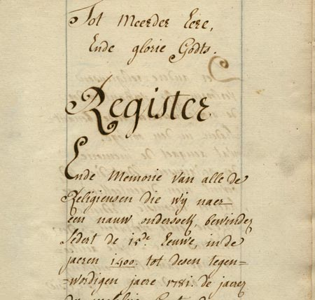 Register van alle de Religieusen (1781)